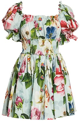 Dolce & Gabbana Poplin Floral-Print Puff-Sleeve Mini Dress