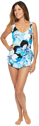 Maxine of Hollywood Swimwear Retro Floral Wide Strap Sarong (Coral) Women's Swimsuits One Piece