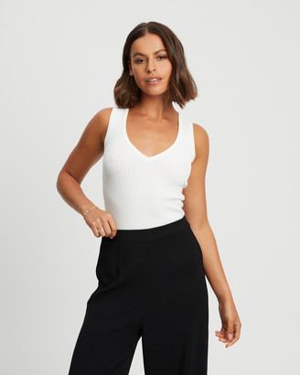 Reux - Women's White Singlets - Hayden Knit Top - Size One Size, 8 at The Iconic