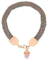 Assya Rose Gold and Teal Weaved Bracelet with Opal Bullet Charm of Length 18cm