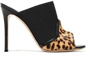 Gianvito Rossi Janet Leopard-Print Calf Hair And Elastic Mules