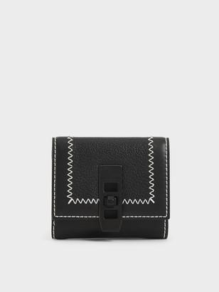 Charles & Keith Stitch Trim Turn Lock Wallet