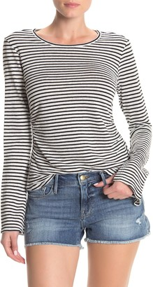 Frame Shirred Bell Sleeve Stripe Print T-Shirt
