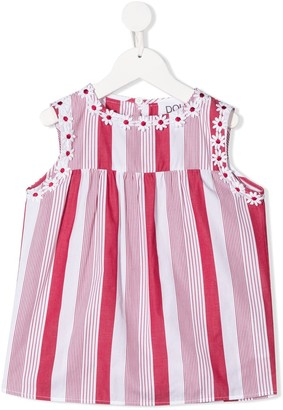 Douuod Kids Striped Floral Embroidered Blouse