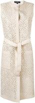 Salvatore Ferragamo long lattice gilet - women - Cotton/Viscose/Silk/Lamb Skin - S
