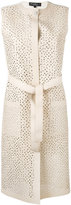 Salvatore Ferragamo long lattice gilet - women - Silk/Cotton/Lamb Skin/Viscose - S