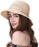 Siggi Womens 100% Raffia Straw Crochet Hat Foldable UPF Summer Beach Sun Hats 56-58CM Beige