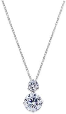 Eliot Danori Silver-Tone Cubic Zirconia Double Pendant Necklace, Created for Macy's