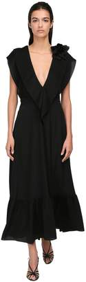 Victoria Beckham RUFFLED CREPE DE CHINE DRESS