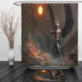 Vipsung Shower Curtain And Ground MatFantasy World Knight With Wings Feathers Angel Devil Full Moon Fire Fantasy Night Illustration Brown YellowShower Curtain Set with Bath Mats Rugs