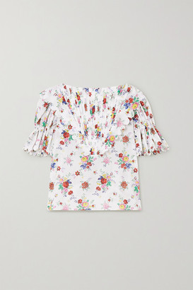 Horror Vacui Charlotte Pintucked Floral-print Cotton-voile Blouse - Ivory