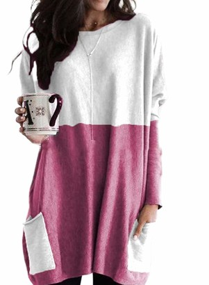 FIYOTE Women's Long Sleeve Long Pullover Round Neck Color Block Pocket Tops Shirts with Pockets Rose