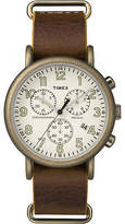 Timex Men's Weekender Chronograph 40mm Leather Strap |Brown| Watch TW2P85300
