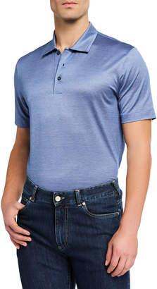 Canali Men's Yarn-Dyed Lisle Polo Shirt, Blue