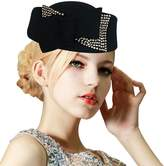 Lawliet Ladies Rhinestone Teardrop Fancy Wool Fascinator Cocktail Pillbox Cap Hat A254