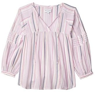 Michael Stars Yolanda Morro Gauze Stripe Peasant Top w/ Pin Tuck (Peony Multi) Women's Clothing