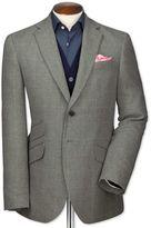 Charles Tyrwhitt Slim Fit Grey Checkered Luxury Border Tweed Wool Jacket Size 38 Long