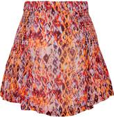 IRO Adelespe shirred printed gauze mini skirt