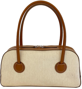 Marge Sherwood Bessette Zipper Canvas And Leather Top Handle Bag
