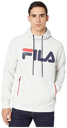 Fila Ezra Tech Hoodie (Light Grey Marl/Peacoat/Chinese Red) Men's Clothing