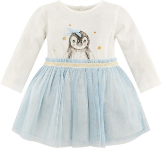 Monsoon Newborn Baby Penguin Disco Dress Blue