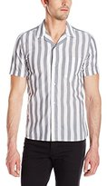 French Connection Men's Mithun Stripe Short Sleeve Button Down Shirt