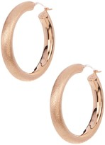 Candela 30mm 18K Rose Gold Plated Sterling Silver Sparkle Hoop Earrings with 14K Gold Findings