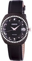 Jowissa Women's J4.104.L Como Stainless Steel Black Genuine Leather Date Watch