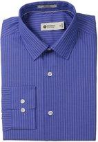 Haggar Men's Fine Line Stripe Point Collar Regular Fit Long Sleeve Dress Shirt