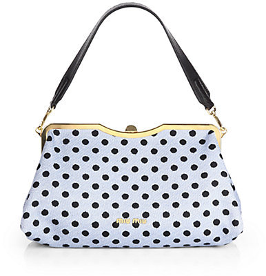 Miu Miu Dot Jacquard and Leather Framed Clutch