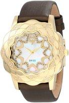 Brillier Women's 10-2F225-05 La Fleur Round Gold Diamonds Analog Watch