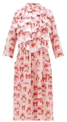Comme des Garcons Ruffled Cartoon-print Crepe Midi Dress - Womens - Pink