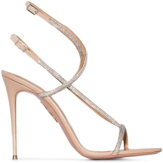 Aquazzura Moondust 115mm crystal-embellished sandals