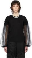 Noir Kei Ninomiya Black Tulle Detail Long Sleeve T-Shirt