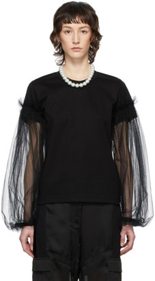 Noir Kei Ninomiya Black Tulle Detail Long Sleeve T-Shirt