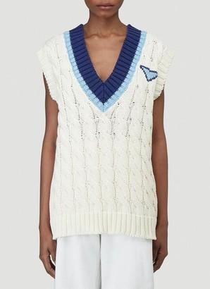 Prada Sleeveless Knitted V-Neck Top