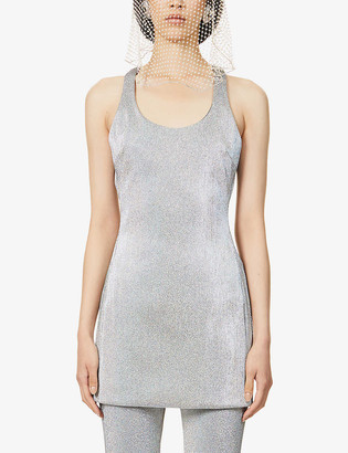 Area Racerback metallic mini dress