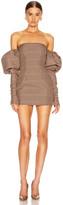 Laquan Smith LaQuan Smith Erin Puff Dress in Brown Herringbone   FWRD