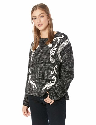 Lucky Brand Women's Embroidered Twill Pullover Sweater