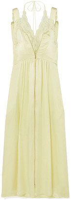 Stella McCartney Lace-trimmed Silk-satin Midi Dress