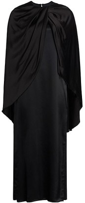 Marina Moscone Twist Cape Dress