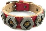"Jenhianeck Men Punk Alloy Rivet Bangle Belt Buckle Pu Leather Bracelet,7""-8"""