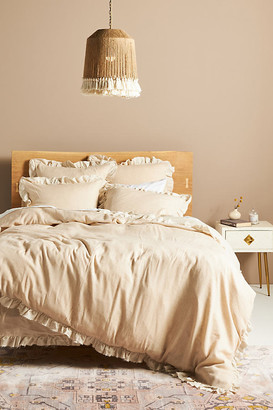 Anthropologie Susana Linen Blend Duvet Cover By in Beige Size Q top/bed