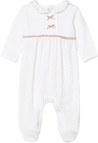 Mayoral Off-White and Beige Spot Frill Babygrow