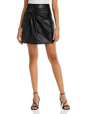 Lucy Paris Gathered Faux Leather Mini Skirt - 100% Exclusive