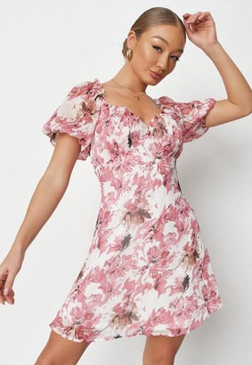 Missguided Pink Floral Print Chiffon Milkmaid Skater Dress