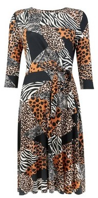 Dorothy Perkins Womens Black Mix And Match Animal Print Skater Dress, Black