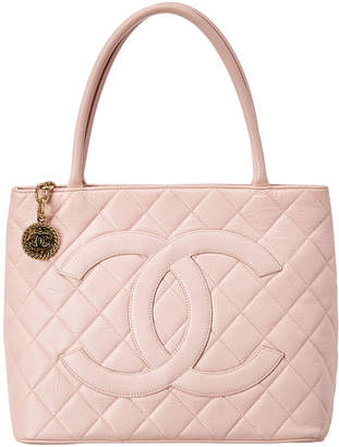 Chanel Pink Quilted Caviar Leather Medallion Tote