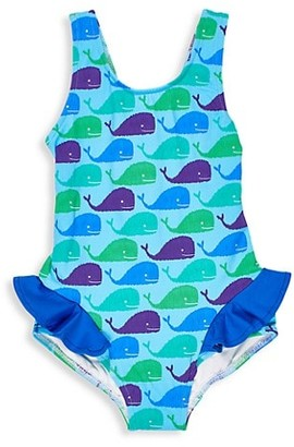 Florence Eiseman Little Girl's One-Piece Whale-Print Ruffled Swimsuit
