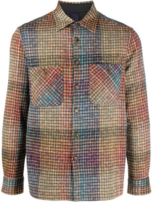 Missoni Abstract Plaid Knitted Cotton Blend Shirt